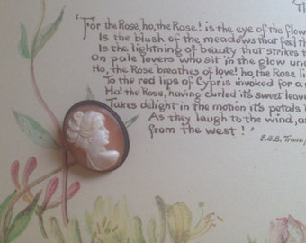 jane austen-ish antique carved shell cameo with unique brooch or pendant fitting
