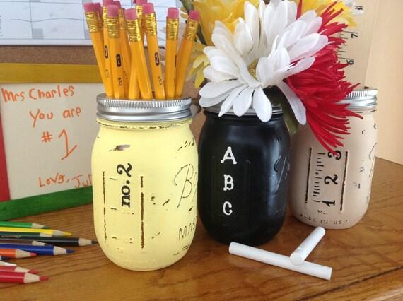 Classroom Decor Gifts : Set of hand painted teacher mason jars by