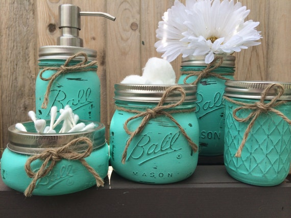 Hand painted mason jar bathroom set mason by for Bathroom decor etsy