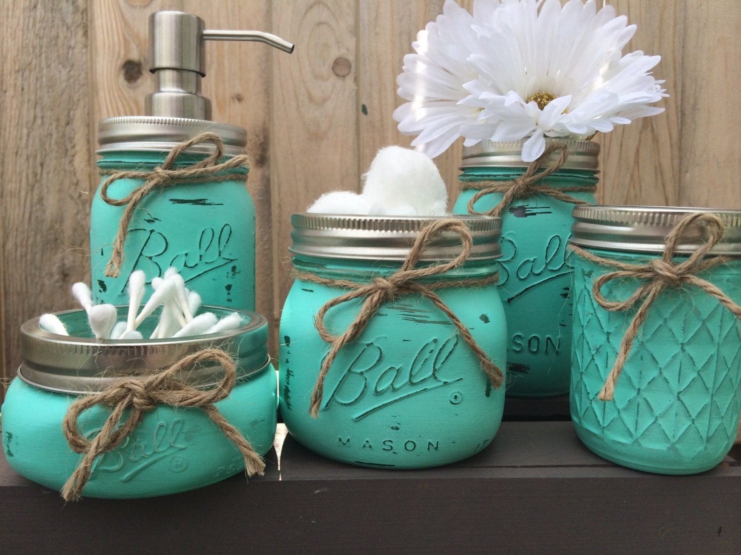 hand painted mason jar bathroom set mason by ForBathroom Decor Mason Jars