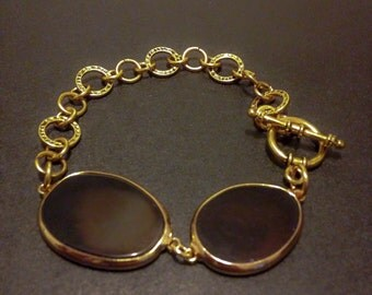 Round Chain Link Bracelet with Obsidian Stones