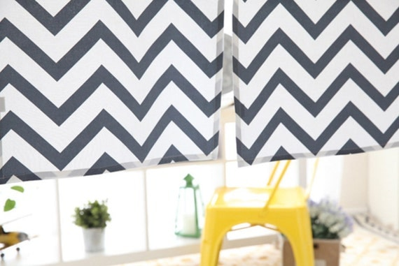 Blue Chevron Cotton Curtain Cafe Curtain Or by HereIsTheShop