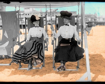 1905 Atlantic City Beach * Vintage Colorized Digital Postcard of Two 1900's Women Clothed at the Beach * Printable, Instant Download