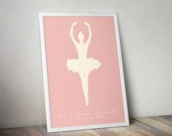 Quote Ballet Princess Printable Wall Picture Poster Postcard Art Digital Instant DOWNLOAD Print Jpeg Pdf