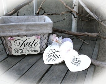 Date Night Ideas Bridal Shower Game | Date Night Shower Idea | Bridal Shower Game | Bridal Shower Game | Shabby pink-Ivory Cardstock NR