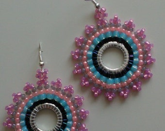 Beaded Earrings Blue Pink