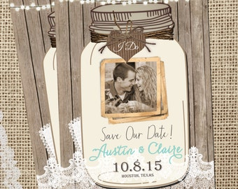 Rustic Mason Jar, Save the Date, Lights, Lace Save the Date, Mint, Digital File, Printable, 5x7