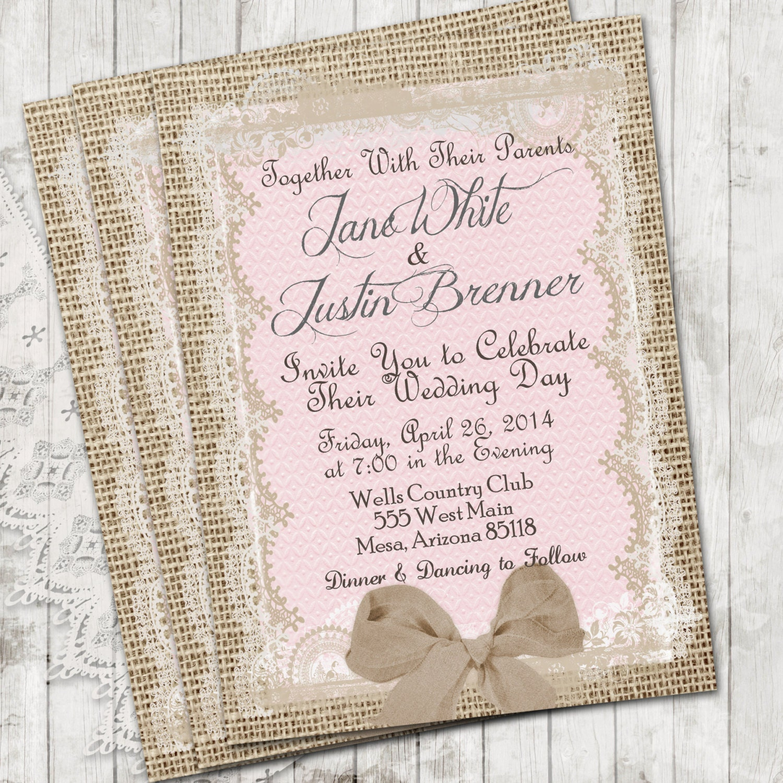 burlap and lace wedding invitations etsy - 28 images - items similar ...
