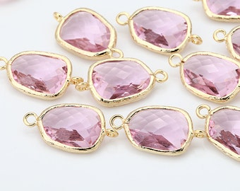 Pink Atypical Glass Connector, Pendant Polished Gold -Plated - 2 Pieces [G0009-PGPK]