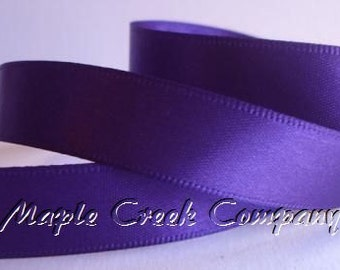 "Purple Double Face Satin Ribbon, 5 Widths Available: 1-1/2"", 7/8"", 5/8"", 3/8"", 1/4"""