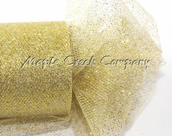 GOLD Glitter Tulle Roll 6in x 30ft - Sparkling Tulle (10 yards)