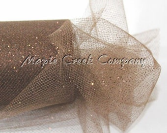 BROWN Glitter Tulle Roll 6in x 30ft - Sparkling Tulle (10 yards)