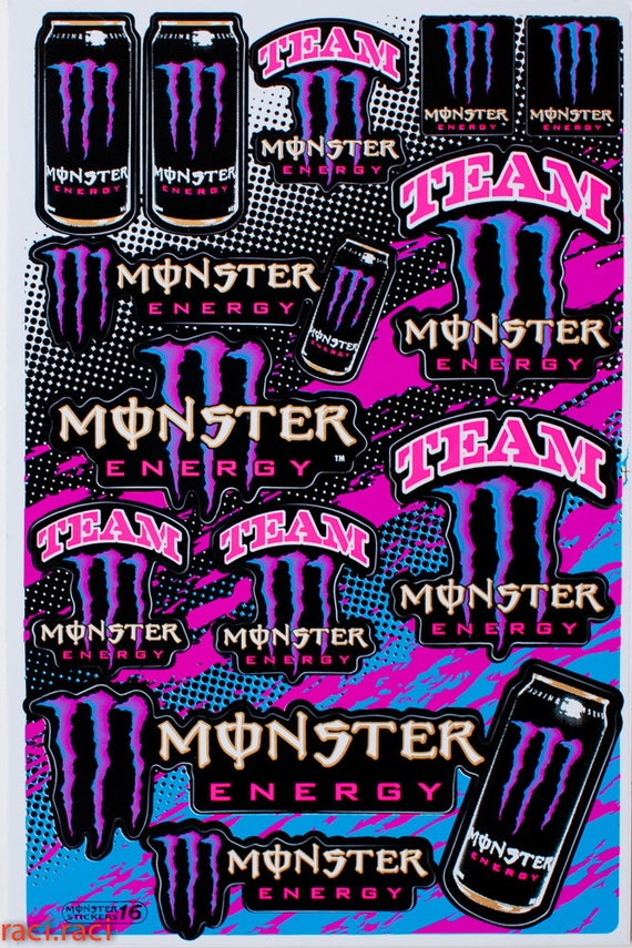 items similar to pink purple monster energy claws sticker. Black Bedroom Furniture Sets. Home Design Ideas