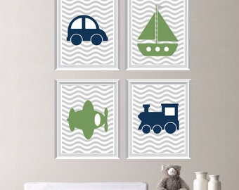 Baby Boy Nursery Art - Transportation Wall Art - Transportation Nursery - Transportation Room Decor - Navy Gray Green - (NS-216)