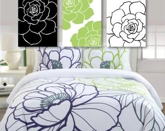 Flower Art Prints, Flower Bathroom Art, Flower Bedroom Decor - Flower Bath, Flower Wall Art, Flower Nursery Art,  green white black (NS-422)