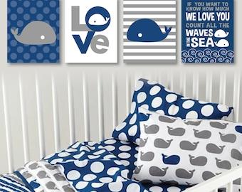 Baby Boy Nursery Print Art - Make a Splash - Nautical Decor - Nautical Nursery -  Whale Nursery Art - Blue Gray - You Pick the Size (NS-490)