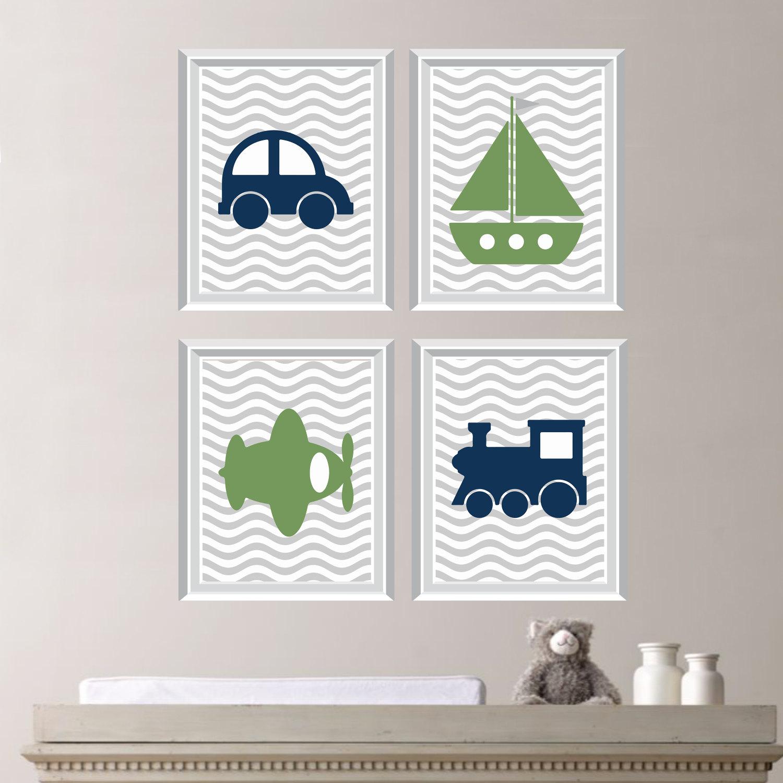 baby boy nursery art transportation wall art. Black Bedroom Furniture Sets. Home Design Ideas