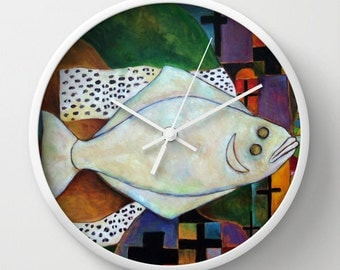 Unique Kitchen Clock, Halibut Fish Clock, Unique Wall Clock, Kitchen Decor, Kitchen Accessory, Whimsical Kitchen, Whimsical Art