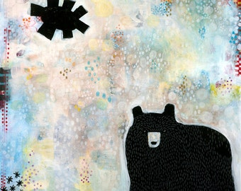 Black Bear Print, Bear Art Print, Alaskan Black Bear, Eclectic Animal Art, Whimsical Bear, Bear Print, Kid's Room Art, Children's Art
