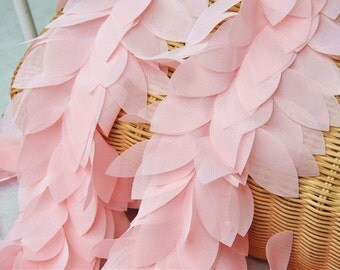 Superior Quality Chiffon Lace Light Pink Chiffon Leaves Lace Trim DIY Handmade Accessory about 2.36'' wide 1 yard E0843