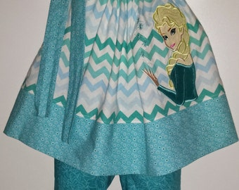 Girls Frozen Queen Elsa Princess Pillowcase and Capri Capris Pants Boutique Outfit! Birthday Party Bow and Signature Optional