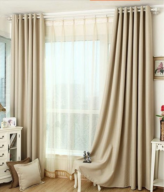 Light Beige Blackout Grommet Curtains Free Shipping Two Curtain Panels 50 Wide X 60 72 84