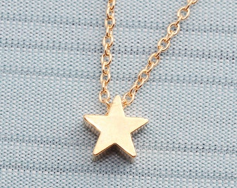 Gold or Rhodium Plated, Simple Star Charm, Color is Your Choice, Necklace