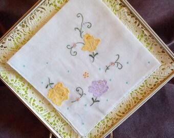 Vintage Floral Pattern Desco Handkerchief / Hankie