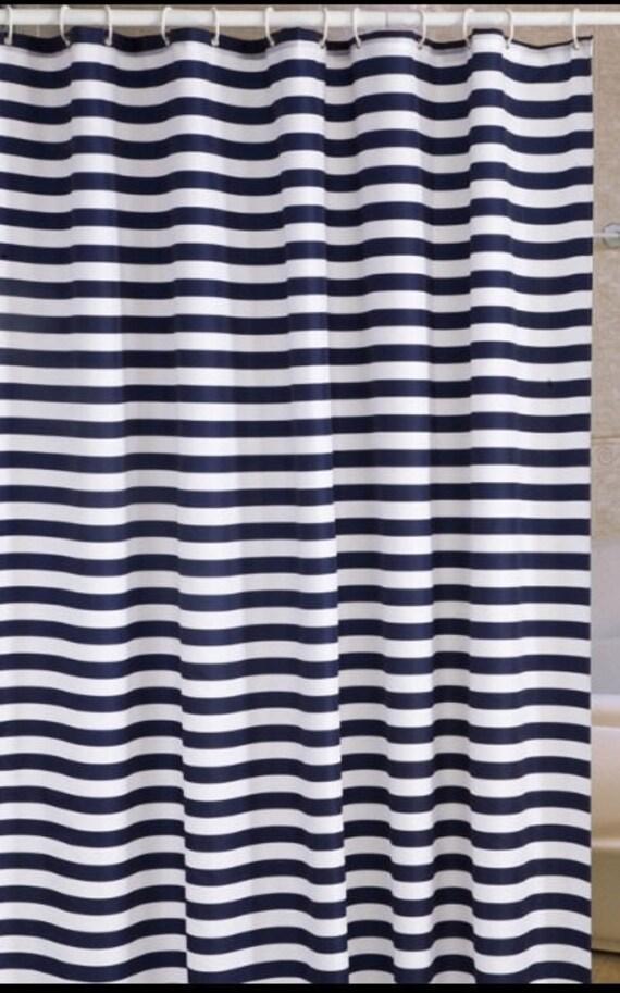 Handmade Waterproof Navy Blue And White Stripe Shower Curtain