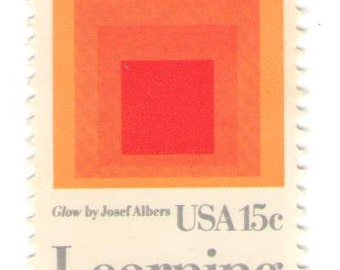 10 Unused 1980 - Learning Never Ends - Homage to the Square by Josef Albers - Vintage Postage Stamps Number 1833