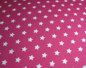 White Stars on Pink Knit by Stenzo - Premium Euro Cotton Jersey Knit 5508