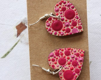 Pink Dotty Earrings Heart Shape by Dizzysdots