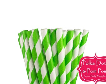 25 LIME GREEN Striped Paper Drinking Straws / Birthday Party Decoration Ideas and Supplies / Wedding / Baby Shower