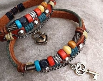 Couples Bracelets, His and Hers Leather Bracelets, Couples Jewelry, Lock and Key Braclet, Valentine's Day Gift CP-366