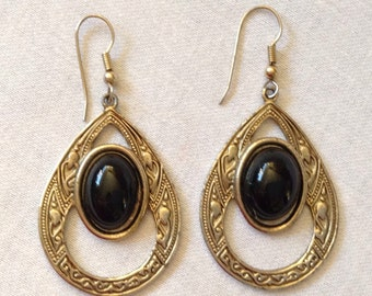 Pierced Chandelier Earrings, Black and Gold Tone, Wires