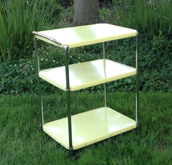 Vintage Kitchen Cart From The 1960's Yellow Metal