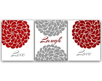 Attractive Home Decor CANVAS Wall Art, Live Laugh Love, Red And Gray Wall Art PRINTS