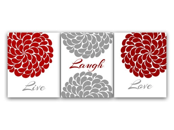 Red Love Wall Decor : Home decor canvas wall art live laugh love red and gray