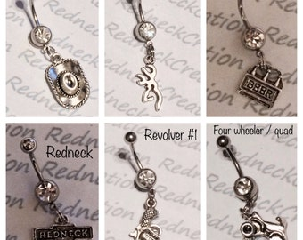 1 Surgical steel belly button ring with charm: cowboy hat ,redneck ,beer ,fish ,browning deer ,pistol ,pig ,tractor , and four wheeler