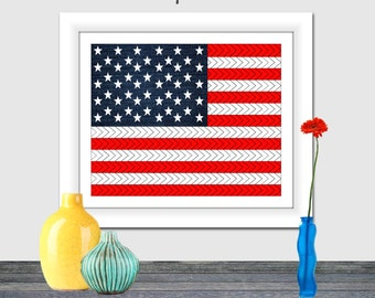 American Flag Art Printable, 4th of July, Denim Flag, Chevron Flag, Red white blue, printable, 8x10, 16x20, Independence Day, stars stripes