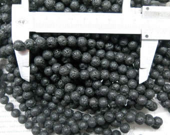 "8mm lava stone round beads, 15.5"" strand long"