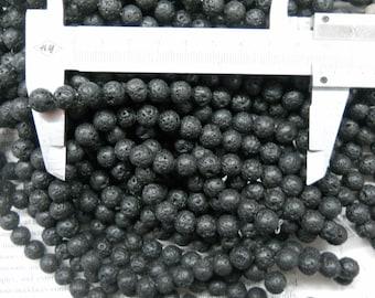 "8mm lava stone round beads, 16"" strand long"