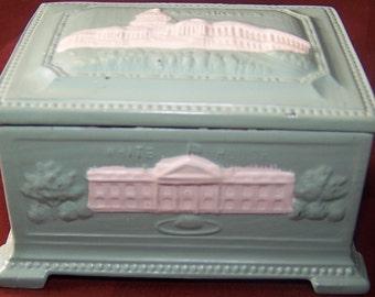Vintage ring trinket box Washington DC White House Congressional Library Union Station The Capitol Mt. Vernon