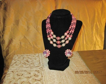 vintage 3 strand beaded necklace with earings