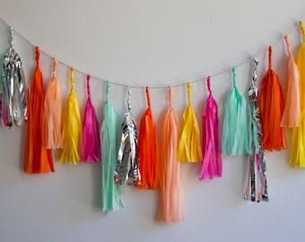 Sweet Sunrise Tassel Garland, Neon Tassel Garland, Bright Tassel Garland, Hot Pink Tassel Garland, Birthday Decor, Party Decor,