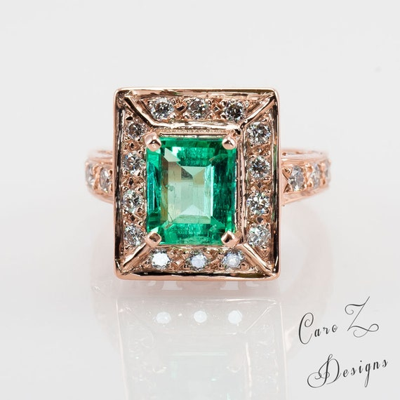 items similar to gold emerald engagement ring