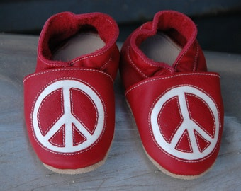 Wee·Kicks · Red & White Peace Signs · Handcrafted Leather Footwear · Soft Sole Baby and Toddler Shoes ·