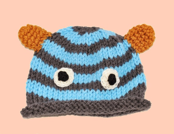 Knit Baby Hat Handmade Baby Monster Hat Baby by FluffyBeesBabies