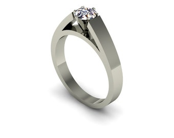 Women's Single Stone Cathedral Engagement Ring