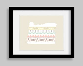 Printable INSTANT DOWNLOAD State of Oregon Wall Art Print